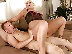 Sex-crazed granny shacking up a schoolboy