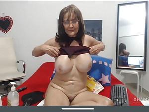 Grandmother Cindy, meaty tits, hairy pussy, masturbation, sweat