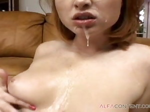 The sandy-haired whore likes to have her mouth full