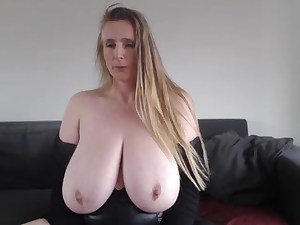 Lovely fat SAGGY Cougar boobs 2x the size of her head!