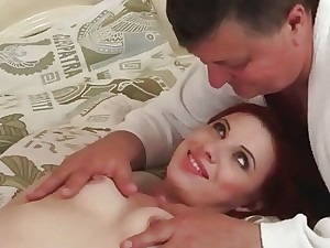 Grandpa boning powered youthful redhead