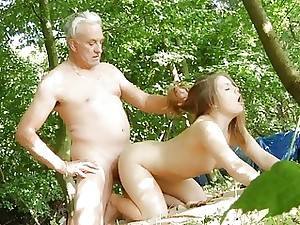 Oldman disciplines young doll near his superannuated detect